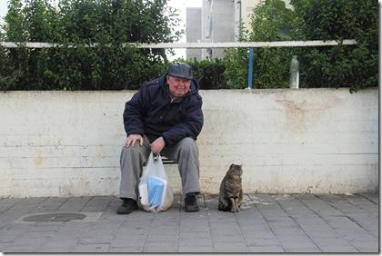 אלויס מאכיל חתולים בפינת רחוב מחל 1